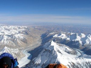 View from the summit of Mount Everest looking towards Tibet