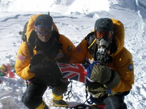 Tom and Ben Clowes on the summit of Everest